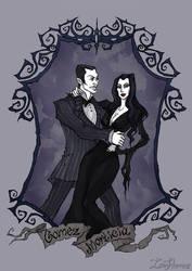 Gomez and Morticia Addams by IrenHorrors