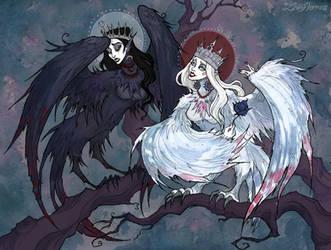 Sirin and Alkonost by IrenHorrors