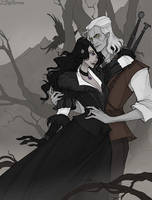 Geralt and Yennefer by IrenHorrors