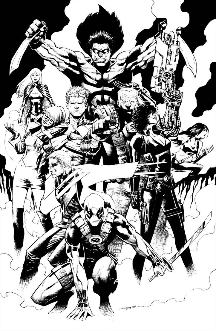 X-Force + Deadpool by butchmapa