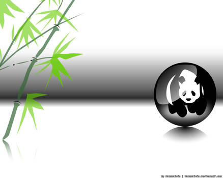 Panda in the Ball with Bamboo