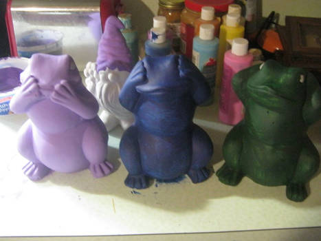 Cement Frogs painting Progress