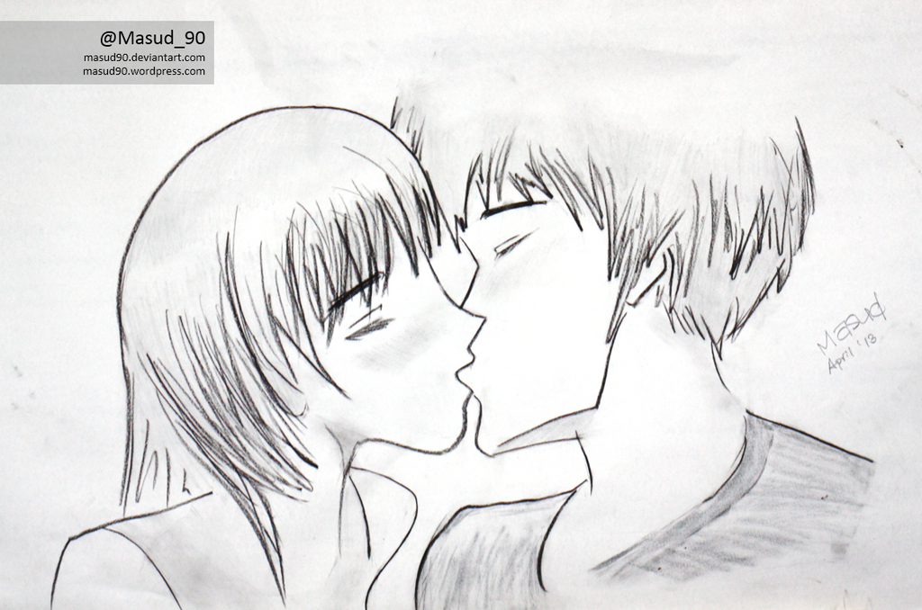 Anime characters kissing by masud90