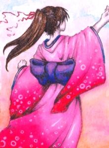 ACEO - Kimono Girl by Menschwerdung