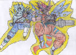 Goku-MetalGreymon vs Vegeta-WereGarurumon
