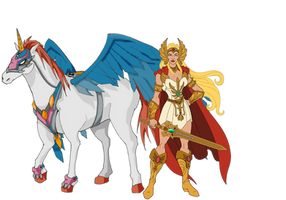 She-Ra and Swiftwind by Crossovercomic