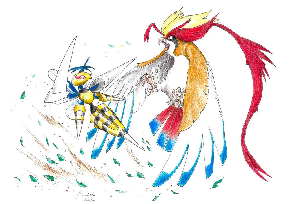 Mega Beedrill Vs Mega Pidgeot By Lorenzolivrieri On Deviantart