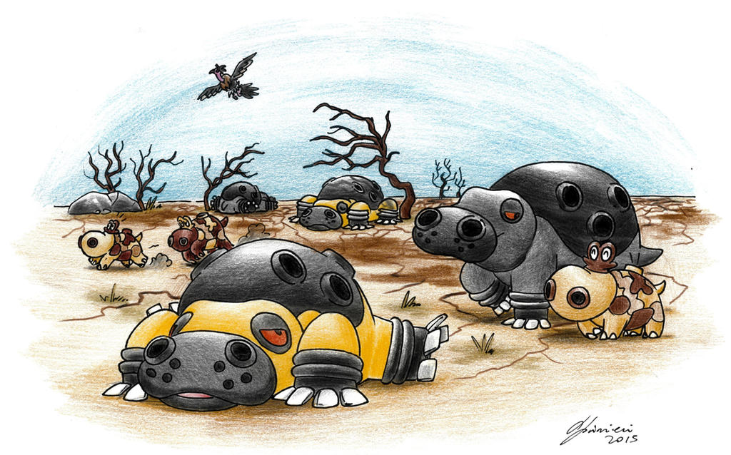 Sunbathing Hippowdon - Natural Habitat Contest by LorenzoLivrieri
