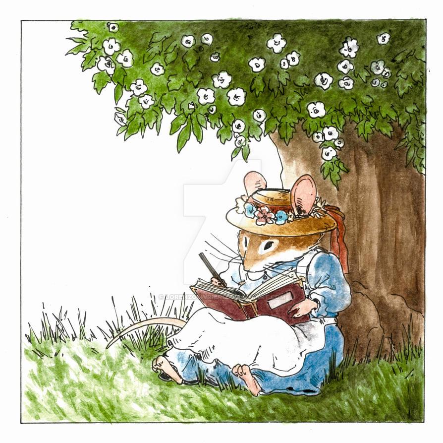 Little mouse reading by LorenzoLivrieri