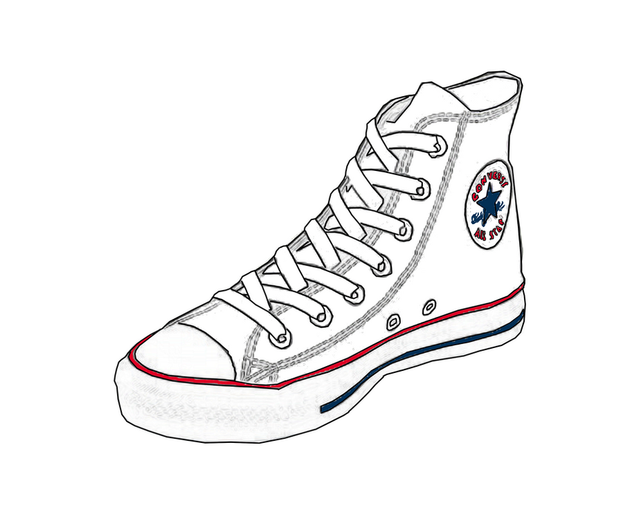 Converse Shoe Drawing Front View Converse digital sketch by