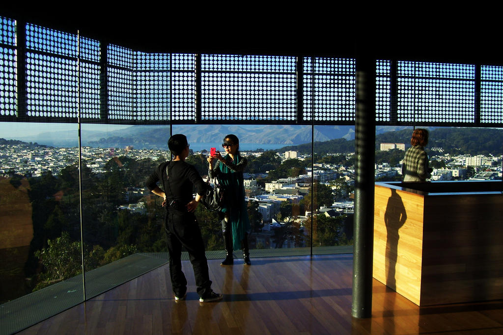Inside the top of the de Young Museum, looking out at Golden Gate Park
