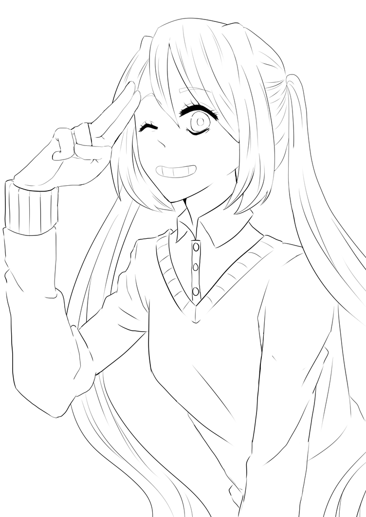 Anime Girl Lineart : Random anime girl lineart by dafi on deviantart