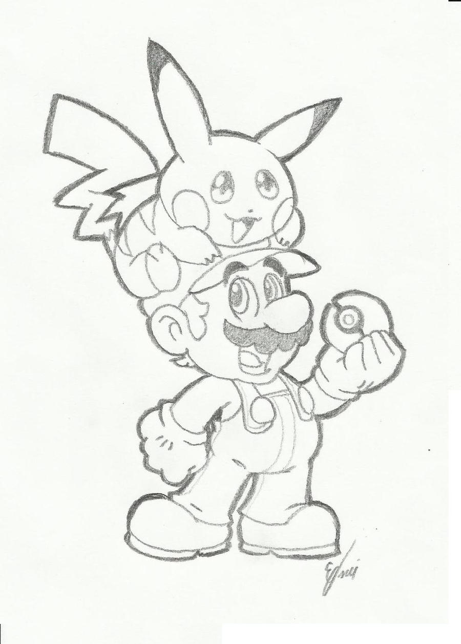Super mario e pikachu by dneydude on deviantart for Super cool drawings