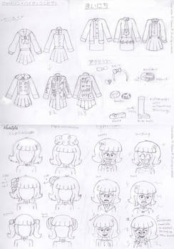Concept Sketches - Cute and Mod School Girl