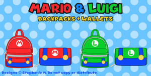 Mario and Luigi Backpacks + Wallets