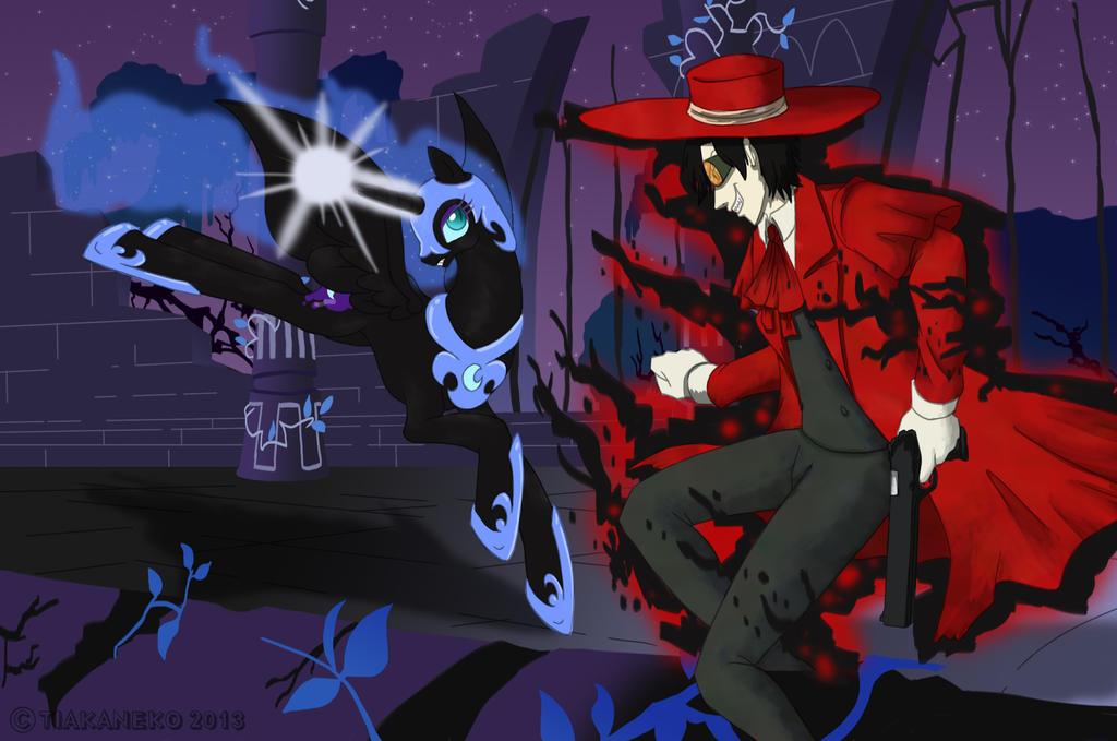 Commission - Alucard vs Nightmare Moon by tiakaneko