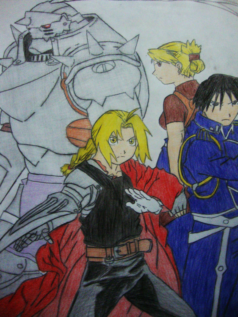 Elric Brothers and Riza,Roy by fullmetaledward01