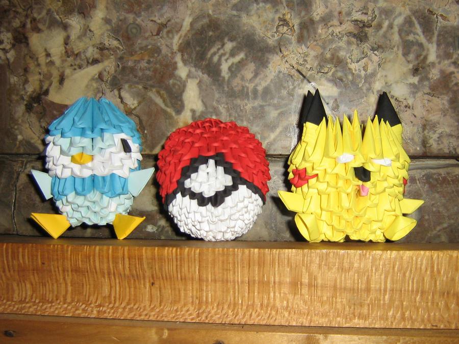 3d Origami Piplup Pokeball Pikachu By Aarrnnoo0123 On Deviantart