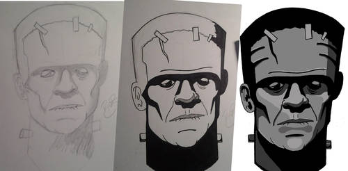 FrankensteinsMonster Progression Pencil-Ink-Color