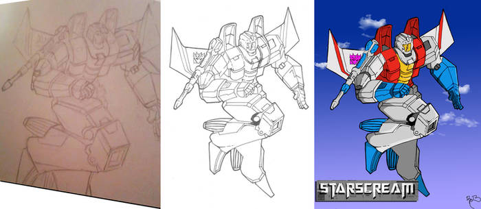 Starscream Progression Pencil-Ink-Color by Robert