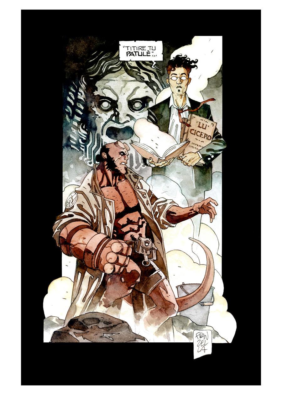 Commission - Hellboy vs der Professor by GiuseppeFranzella