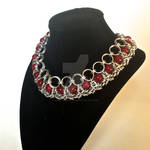 Crimson and Byzantine Chainmaille Necklace