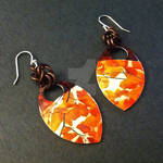 Orange Autumn Leaves Scalemaille Earrings