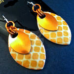 Orange Diamond Double Scalemaille Earrings