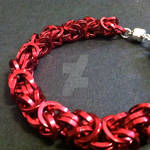 Red Square Byzantine Mens Chainmaille Bracelet