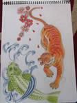 Tiger and Koi