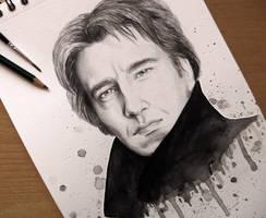 Alan Rickman - Watercolour by BellaLubaja