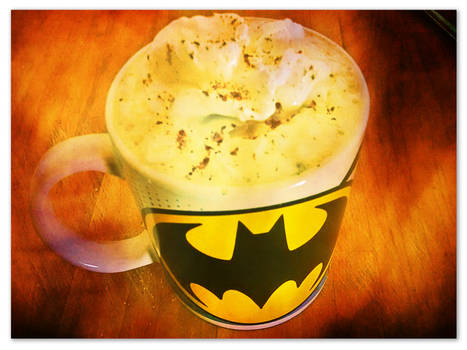 Pumpkin spice coffee in a batman mug