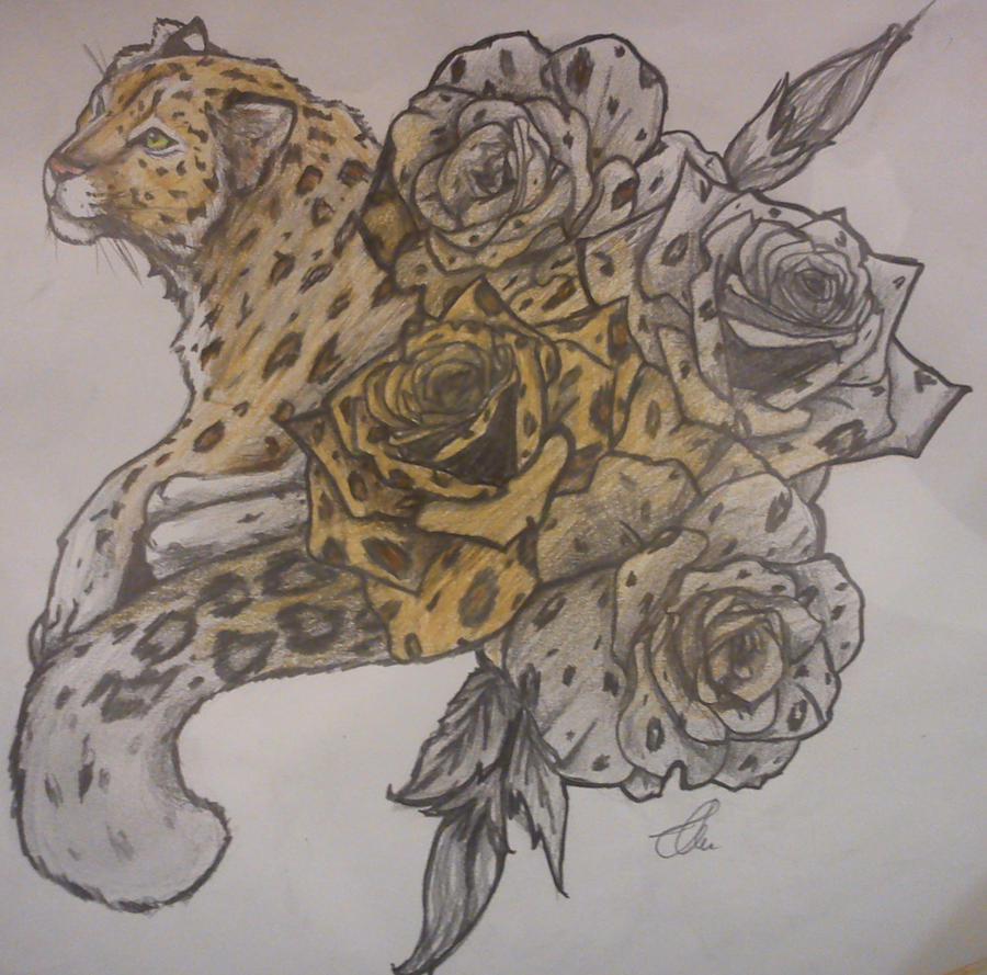 leopard rose tattoo by bubblecrazy on deviantart. Black Bedroom Furniture Sets. Home Design Ideas