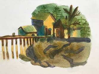 Watercolor - Houses By The Dock by MegnRox15