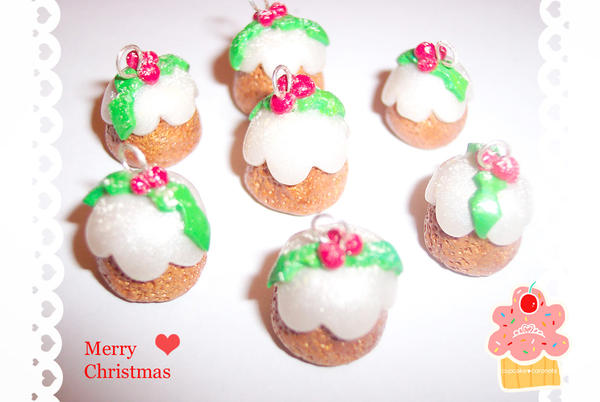 christmas pudding charms by neko-crafts