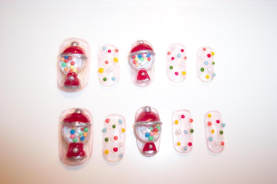 gumball machine nails by neko-crafts on DeviantArt