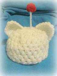 Crocheted moogle hat
