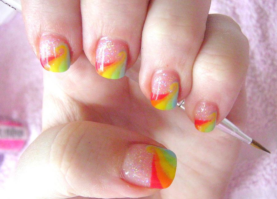 rainbow dash nail art by neko-crafts on DeviantArt