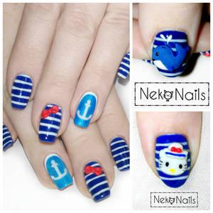 sailor hello kitty nails