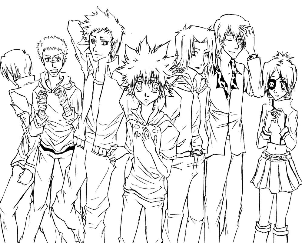Line Art Group : Anime best friends group drawing pixshark