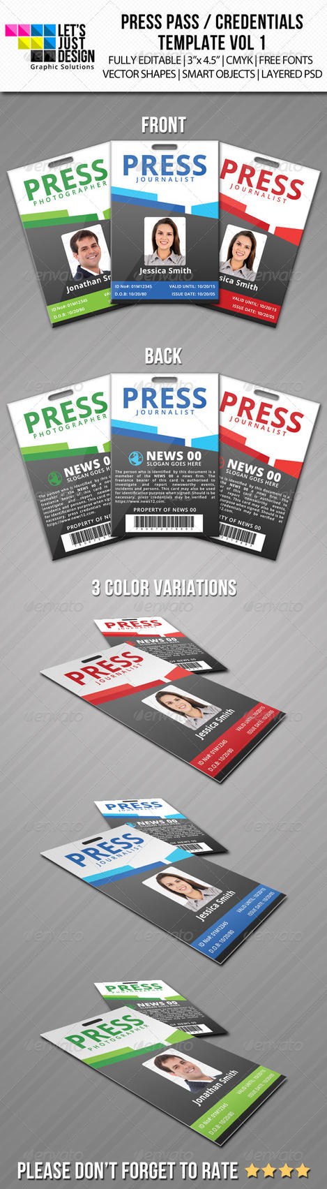 Press pass credentials template vol 1 by jasonmendes on for Media pass template