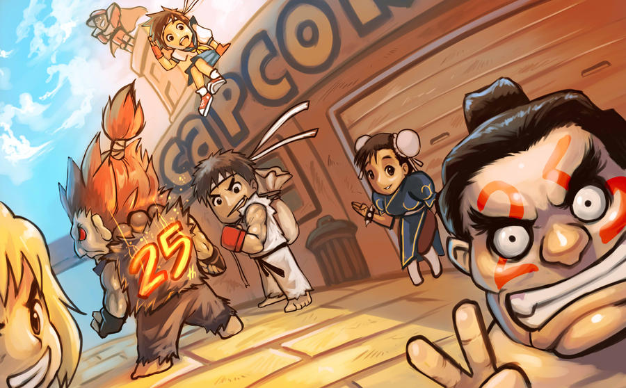 DeviantART : Street Fighter Tribute (sélection Fans-comics) Street_fighter_25th_aniversary_by_es_jeruk-d4yy00i