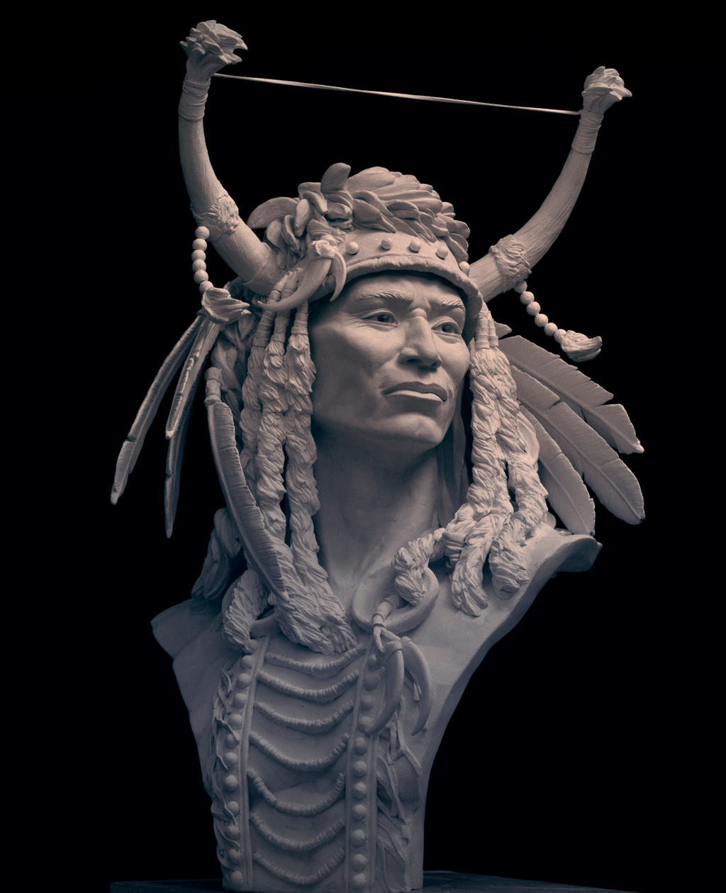 warrior with splithorn warbonnet-2 by renemarcel27