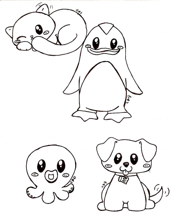 cute animal sketches