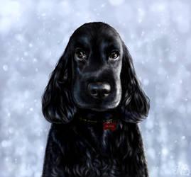 Olivia - Portrait w/ Snow background by Lyraven