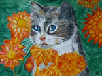 Flower cat-ACEO