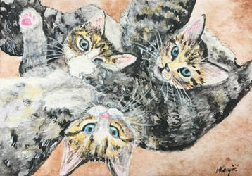 Three tabby babies-ACEO by Actlikenaturedoes