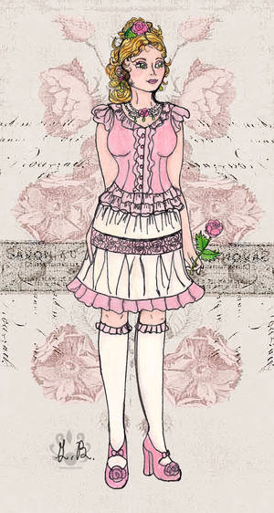 Wild Pink Rose-Neo Victorian style by Pearllight180