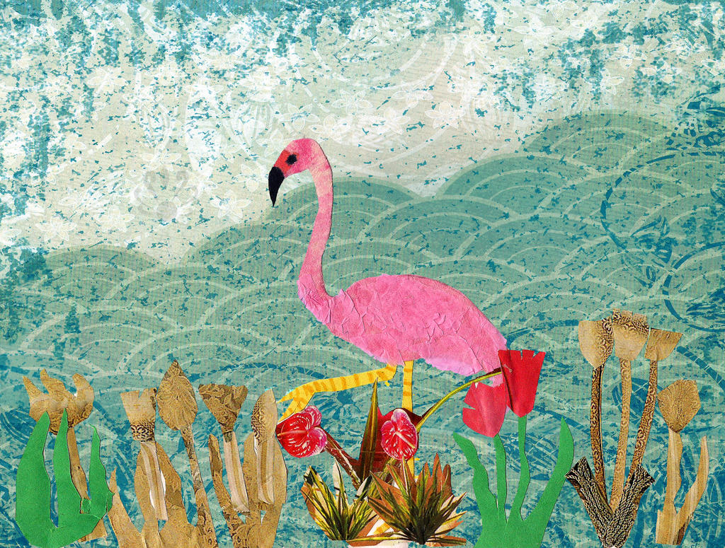 Pink Flamingo- collage by Pearllight180