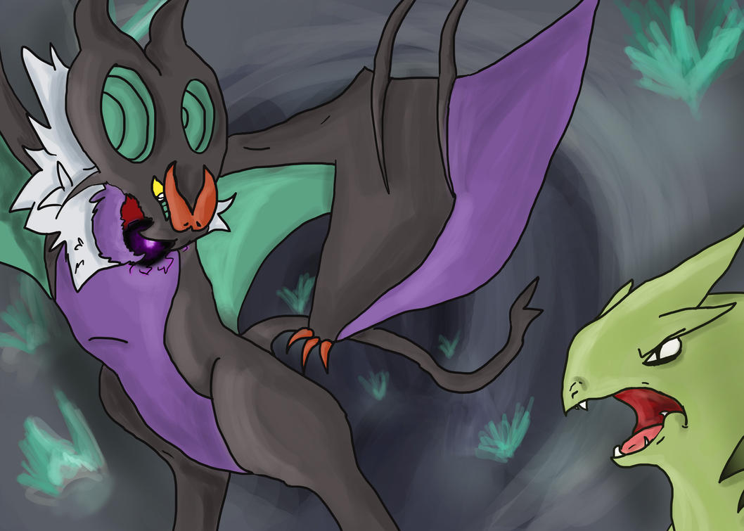 Noivern vs Tyranitar by PsychtehWolf